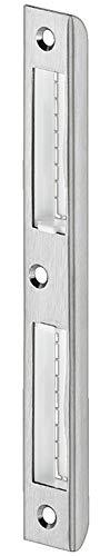 JUVA Winkel-Schließblech Chrom silber matt Einlass-Schließblech für gefälzte Zimmertüren   Renovierung für Zargen aus Holz & für gefälzte Türen   1 Stück - Metall Tür-Anschlag für Innentüren