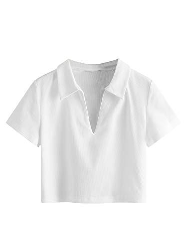 SweatyRocks Women's Collar Ribbed Knit Tee Short Sleeve Crop Top T-Shirts White Small