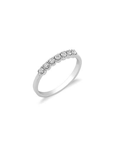 Gioielli di Valenza - Anello Veretta a 7 pietre in Oro bianco 18k con diamanti ct. 0,20 - FE701020BB - 13