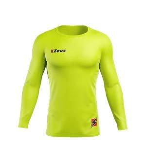 Zeus Maglia Termica FISIKO Manica Lunga Sport T-Shirt Unisex Uomo Donna Bambino (L, Giallo Fluo)