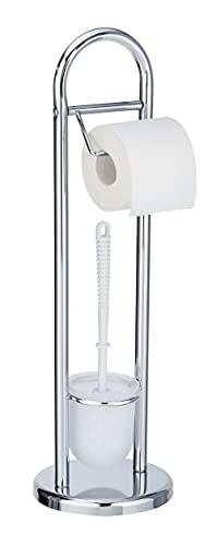 WENKO Stand WC-Garnitur Siena Chrom - Toilettenpapierhalter und WC-Bürstenhalter, Stahl, 19 x 63 x 19 cm, Glänzend