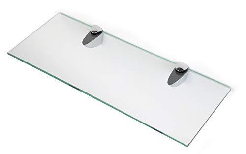 BSM Marketing Estantes de cristal endurecido de 6 mm de grosor con gran estante de acabado cromado que soporta 600 mm, 500 mm y 400 mm (1, 400 mm x 150 mm)
