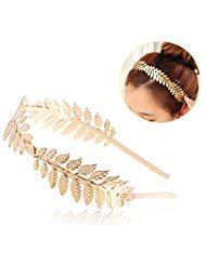 UEETEK Roman Goddess Headband Leaf Bridal Hairband Crown Gold