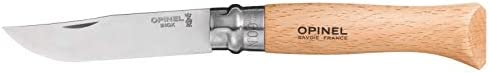 Opinel Stainless Steel Folding Knives with Beechwood Handle and Virobloc Safety Ring, Multiple Sizes