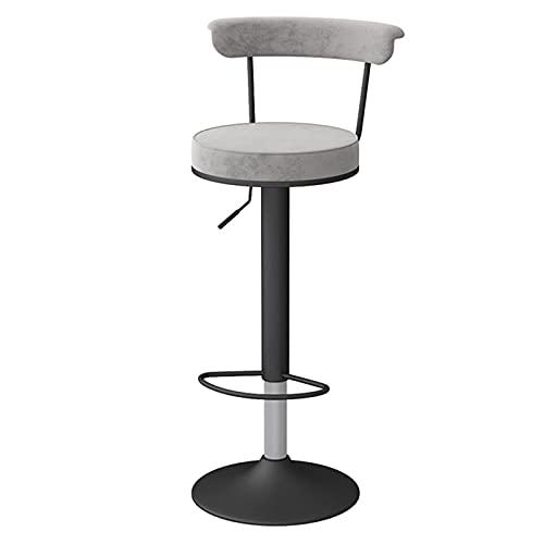 DFBGL Drehbarer Hebestuhl Hochständer Esszimmerstühle mit schwarzen Beinen, Samtstuhloberfläche und Rückenlehne, höhenverstellbar 62-82 cm (Farbe: Grau)