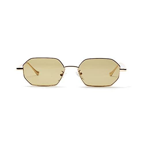 MIMITU Mujeres Retro Clásico Pequeño polígono Gafas de sol Hombres Mujeres Lujo Vintage Espejos negros Color lente transparente Gafas de sol UV400,5