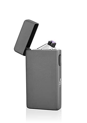 TESLA Lighter TESLA Lighter T13 Lichtbogen Feuerzeug, Plasma Double-Arc, elektronisch wiederaufladbar, aufladbar mit Strom per USB, ohne Gas und Benzin, mit Ladekabel, in edler Geschenkverpackung Anthrazit Anthrazit