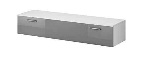 E-Com Mobile TV Armadio Supporto Boston Frontale, Colore: Bianco Opaco/Grigio Lucido (150cm)