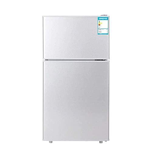 H.Slay Refrigerador Independiente de Doble Puerta Congelador de Temperatura Ajustable con compresor de Estante Congelador de Baja energía Bajo Nivel de Ruido 42L Plata Dorada