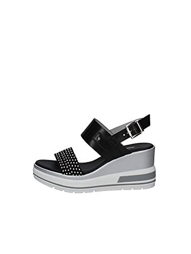 Sandalo Donna NeroGiardini E115760D in Pelle Nero Una Calzatura Adatta per Tutte Le Occasioni. Primavera-Estate 2021. EU 37