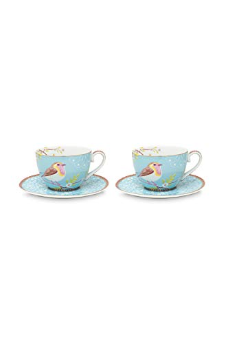 PiP Studio - Cappuccinotasse mit Untertasse - Floral Early Bird - Porzellan - blau (4-teilig)