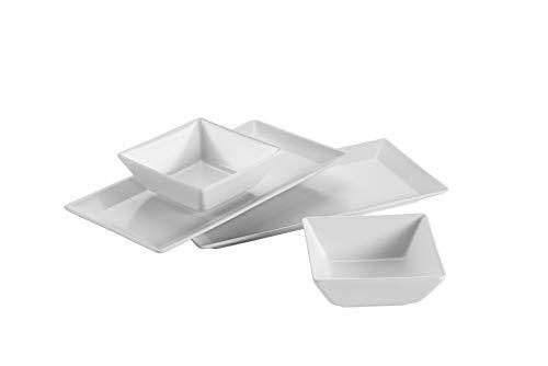 Mäser 931363 Schale/Platten rechteckige Teller und 2 quadratische Schüsseln in Weiß, Porzellan Geschirr Set für 2 Personen