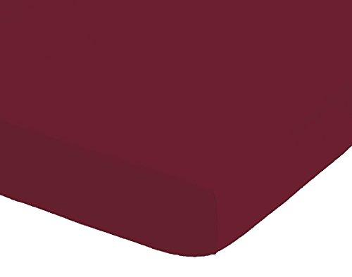 Bellana Spannbettlaken Exquisit 100% Baumwolle Mako Bordeaux 140-160x200 cm