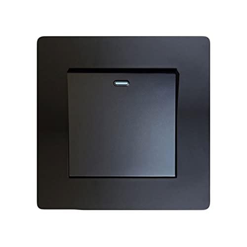 SYunxiang Interruptor de Control Dual 86 Tipo Interruptor de Panel de Aluminio Negro Diseño de botón Grande Interruptor de Panel de Pared Luminaria 1-4Gang 1-2 Way