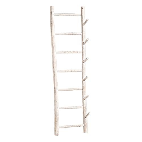 Perchero Escalera Blanco rozado de Madera de Teca de 180x40x25 cm - LOLAhome