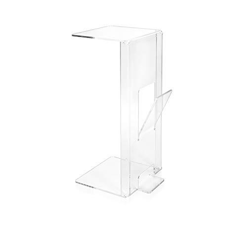 iPLEX - Ambrogio Beistelltisch, Sofaseite aus transparentem Plexiglas, mit Zeitungsfach, Maße: 70 x 34 x 28 cm, hergestellt in Italien – Einrichtung