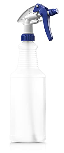BAR5F Empty Plastic Spray Bottle 32 oz, Chemical Resistant, Professional, Heavy Duty, Blue/White (Pack of 1)