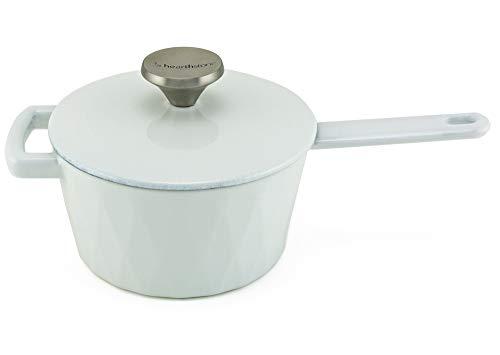 HearthStone Cookware Diamond Casserole en fonte émaillée Blanc 18 cm 1,6 l Pour toutes les surfaces y compris l'induction et le four
