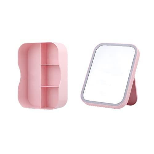 Espejo de Maquillaje Escritorio LED Caja de Almacenamiento Rectángulo ABS y Vidrio Brillo Ajustable Plegable para Casa