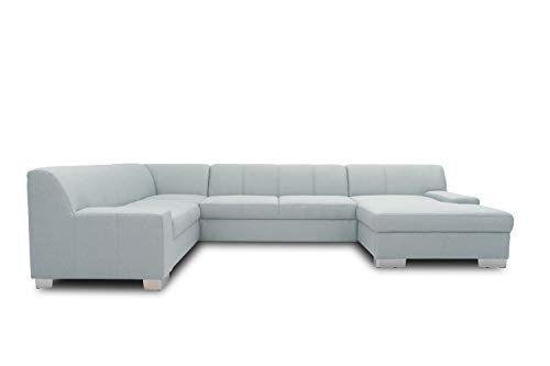 DOMO. collection Bero Wohnlandschaft, Sofa U-Form, Schlafsofa, Bettfunktion, Polstergarnitur, hellblau, 212x328x153 cm