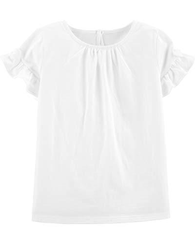 Osh Kosh Girls' Toddler Ruffle Knit Top, Ivory, 5T