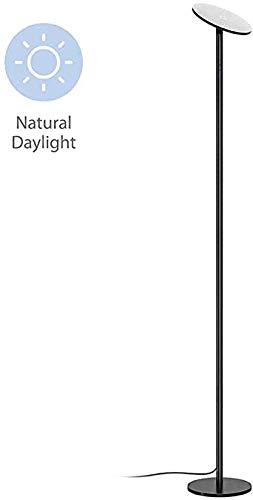 TROND LED Fackel Stehlampe dimmbar (30W, 5500K natürliches Tageslicht, max. 4200 Lumen, 71 Zoll, 30 Minuten Timer, Nullverzögerung, mit Wandschalter, für Wohnzimmer, Schlafzimmer, Büro Modern Schwarz