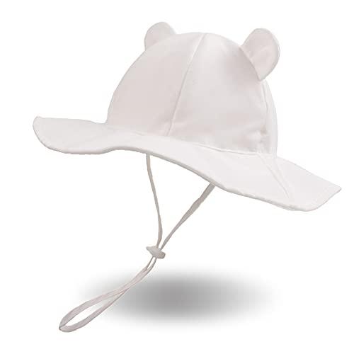 XIAOHAWANG Sommer Mützen Baby Junge Sommerhut Mädchen Baby UV Schutz Baumwolle Sonnenschutz Mütze Kleinkind Sonnenhut Unisex Babymütze Frühling,Sommer, (Weiß, Gr.44CM 0-3Monate)