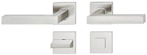 JUVA Design Drückergarnitur Edelstahl Türbeschlag eckig Türgriff auf Rosette für Zimmertüren - LDH 2166 | WC - Badezimmer | Edelstahl matt gebürstet | 1 Garnitur