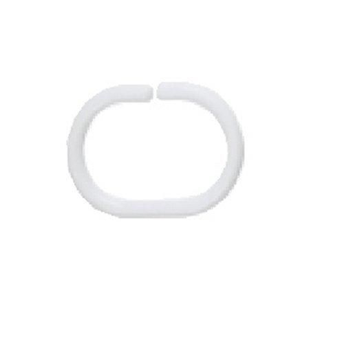 Spirella MSV Duschvorhangringe 12 Stück Weiß Kunststoff - Passend für alle gängigen Duschvorhangstangen