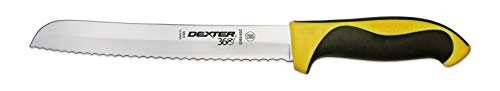 """Dexter 8"""" Scalloped Bread Knife, Yellow Handle"""