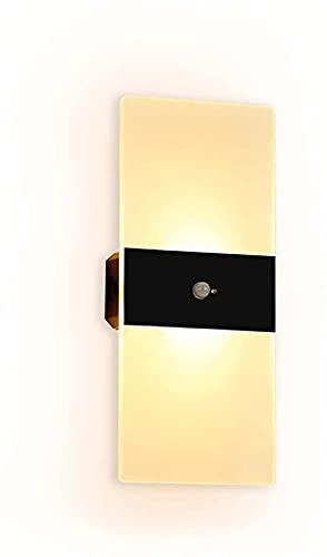 ZJJZ Lámpara de pared LED con pilas USB inteligente magnética con sensor de movimiento, lámpara de pared para interior inteligente de 3 W para dormitorio, sala de estar, pasillo, pasillo, luz blanca