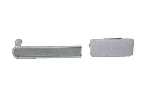 互換品 ソニー スマホ Xperia A 用 サイド キャップ カバー 2点セットA (1 ホワイト)