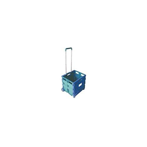 Conteneur VFM 356684 pliable à roulettes, bleu/vert