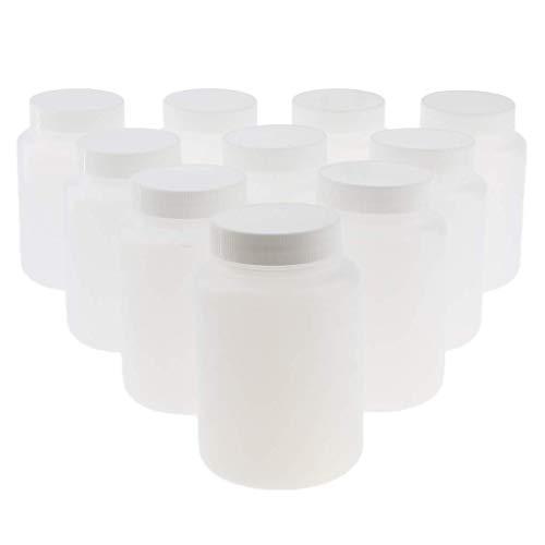 Tubayia 10 Stück 500ml Reagenzflasche Kunststoff Weithalsflasche Chemische Laborbedarf