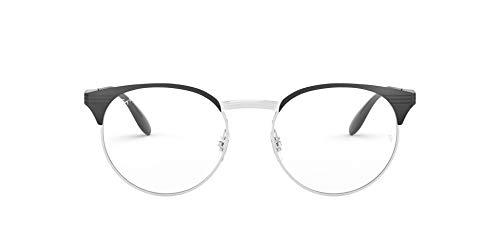 Ray-Ban 0RX6406 Monturas de gafas, Silver On Top Black, 49 Unisex
