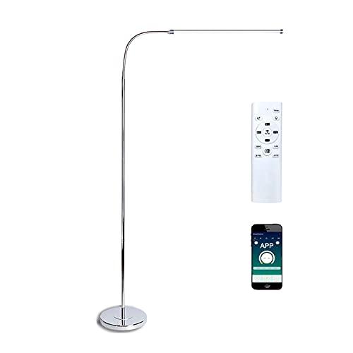 Lámpara de pie LED regulable desde el control remoto y aplicación, lampara de pie salon moderna para dormitorio de sala de estar, lámpara de noche lectura con cuello de cisne flexible, 12W, plata
