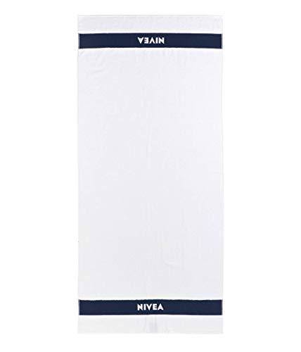Nivea Badetuch (80 cm x 180 cm), weiches & schnelltrocknendes Duschtuch aus 100% Baumwolle, hochwertiges & ausbleichsicheres Handtuch mit eingewebtem Nivea Schriftzug, weiß