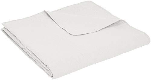 AmazonBasics - Bettüberwurf mit Prägemuster, extra-groß, Weiß, Blumen, 220 x 240 cm