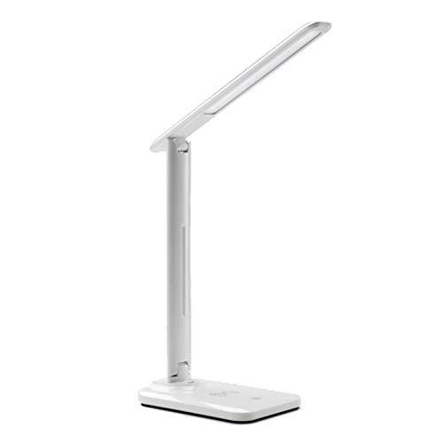 Lámpara de sala de estar de dormitorio Cargador inalámbrico 2 en 1 mesa LED lámpara de escritorio de múltiples funciones de lectura con luz DC 5V puerto de carga USB for el móvil de carga del teléfono
