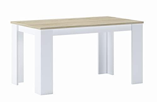 Skraut Home - Tavolo da pranzo e soggiorno, fino a 6 persone, colore Rovere chiaro e Bianco, 138x80x75cm