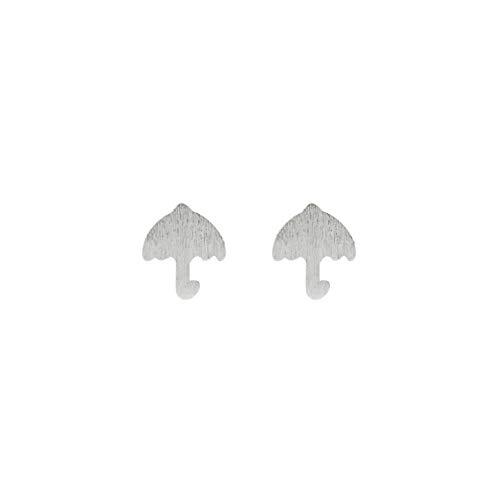 925 Argent Boucles d'oreilles Femme, Artisanat Brossé Parapluie Personnalité Clips D'Oreille Simple Trémelle Femelle Vintage Douce Oreille Broche, Cadeau De Fête Hypoallergénique Sans Plomb Orei