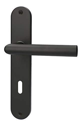 Türgriff von lockzz: Drückergarnitur Estenfeld, Edelstahl schwarz matt, Türbeschlag für Zimmertüren, Langschild, L-Form, BB - Buntbart