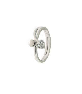 Anello contrariè con cuore liscio e zirconato in argento 925 placcato oro bianco.