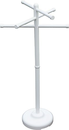 Outdoor Lamp Company Portable 3 Bar Towel Tree - White. Made in The USA for Pool, Spa and Home Use.