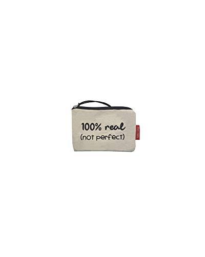 Hello-Bags Bolso Monedero/Billetero/Tarjetero. Algodón 100%. Blanco. con Cremallera y Forro Interior. 14 cm x 10 cm. Incluye sobre Kraft de Regalo.