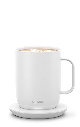 NEW Ember Temperature Control Smart Mug 2, 14 oz, White, 80 min. Battery Life - App Controlled Heated Coffee Mug - Improved Design