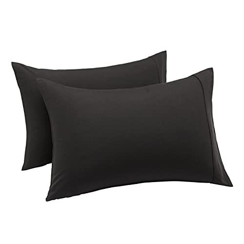 Amazon Basics Lightweight Super Soft Easy Care Microfiber Pillowcases - 2-Pack, Standard, Black