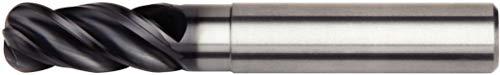 WIDIA Hanita 47N706012LT VariMill I 47N7 HP End Mill, 1 mm Radius, 6 mm Cutting Diameter, Carbide, TiAlN Coating, RH Cut, Straight Shank, 4-Flute