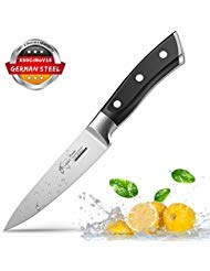 Paring Knife Fruit Knife Peeling Knife 4 Inch German HC Stainless Steel Small Sharp Knife with Non Slip Ergonomic Handle for Kitchen Cutting