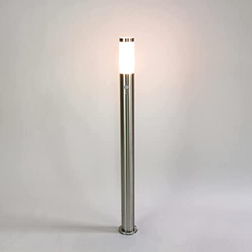 Lampe haut chemin acier inoxydable argent H: 110cm E27 IP44 Ø8cm Capteur de mouvement Capteur Cour Jardin